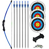 Archery Bow and Arrow Set for Teens 18 lbs - Youth Recurve Bows Kit with Arm Guard, 6 Arrows 3 Target Faces Right and Left Hand (Blue)