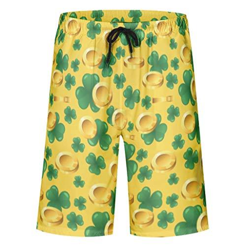 Ballbollbll Pantalones cortos de verano con bolsillos con cremallera para correr, elásticos, de secado rápido, con forro de malla, para hombre