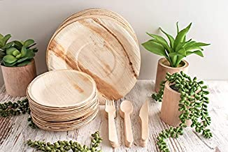 Dinner Plates and Cutlery Pack(125 Items) Eco Friendly Compostable Biodegradable Sturdy Heavy Duty Disposable Bamboo Dinne...