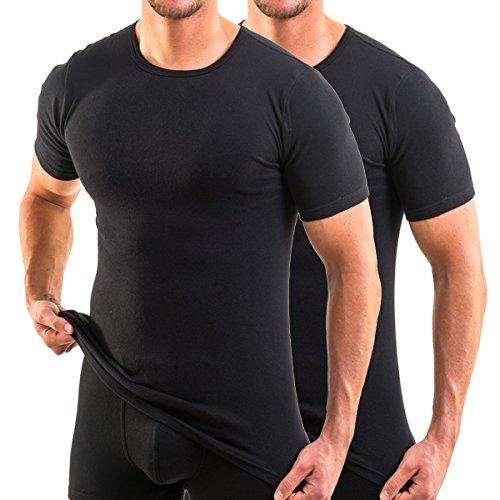 HERMKO 3840 2er Pack Kurzarm Shirt (Weitere Farben), Farbe:schwarz, Größe:D 9 = EU 3XL