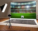 YongFoto 1,5x1m Vinilo Fondo de Fotografia Campo de fútbol Luces de Escenario Deportivo Interior de Hierba Verde Telón de Fondo Fiesta Niños Boby Retrato Personal Estudio Fotográfico Accesorios