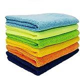 Sheen Microfiber Vehicle washing Cloth || Vehicle washing cloth || GSM 270 || Size 30X40 || Microfiber Cleaning Cloth (6, Multicolor)