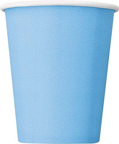 Unique Party- Paquete de 14 vasos de papel, Color azul claro, 266 ml (30903)