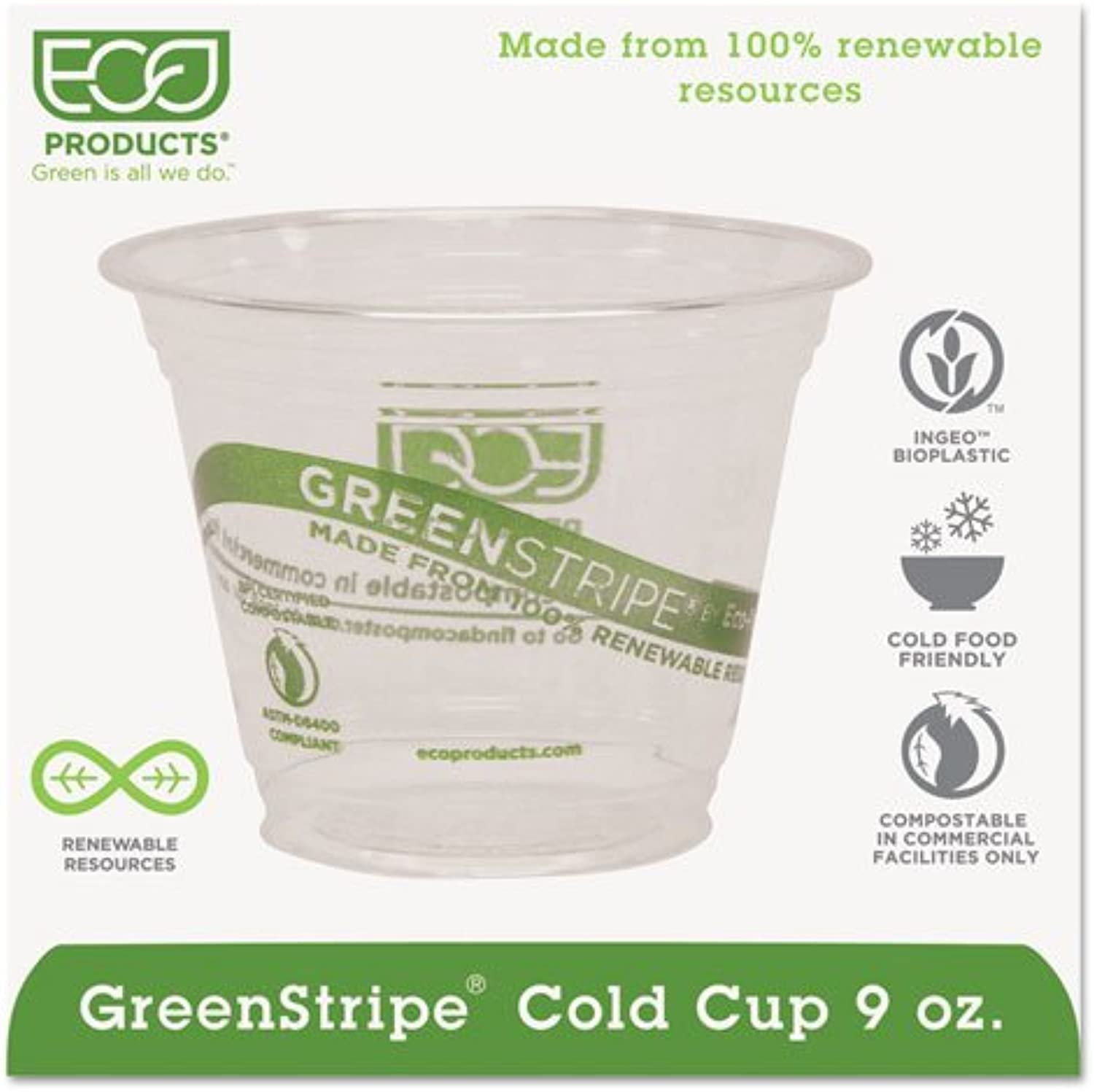 Eco-Products& 44; Inc EPCC9SGS GreenStripe Renewable Resource Cold Drink Cups& 44; 9 oz.& 44; Clr& 44; 1000-Ctn