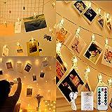 LED Fotoclips Lichterkette, 5M 50LED Fotolichterkette Warmweiß mit 50 Foto Clips und Fernbedienung, 8 Modi Bilder Clip Fairy Lights USB/Batteriebetrieben für Zimmer Deko, Hochzeit, Weihnachten