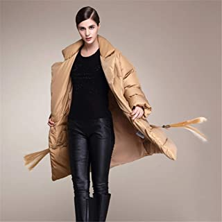 Women's Thickened Down Jacket Winter Coat White Duck Down Jacket Fashion Loose Lapel Jacket Water Resistant Coats,Brown,XS