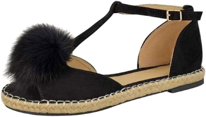 JOYBI Women Casual Peep Toe Flats Sandals Ankle Strap Slip On Pom-Pom Summer Buckle T Belt Fashion Sandal