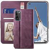YATWIN Handyhülle Oppo A72 Hülle, Klapphülle Oppo A52 Premium Leder Brieftasche Schutzhülle [Kartenfach] [Magnet] [Stand] Handytasche Hülle für Oppo A72 Cover, Weinrot