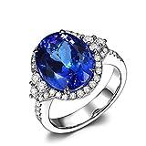 Bishilin Oro Blanco 18K Anillo de Boda Azul Tanzanita Ovalada Azul 5.75Ct Diamante 0.55Ct Anillo Boda Brillante Azul Plateado Anillo de Compromiso Anillo de Matrimonio para Mujer Talla:21