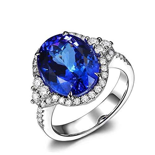 Daesar Ring 750 Weißgold Damen Blau Oval Tansanit 8.37ct Verlobungsring Hochzeit Ring mit Diamant Gr.62 (19.7)