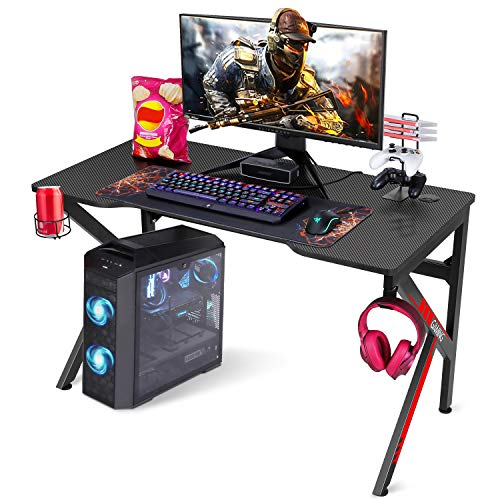 SIMBR Gaming Tische, 121cm Rennstil Gaming Computertisch K-förmiger PC Computer Gaming...