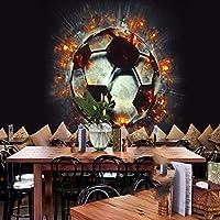 XSJ 壁紙カスタム大3D壁画3Dショックステレオ火サッカーKTVバー背景壁装飾壁画壁紙-300X210CM