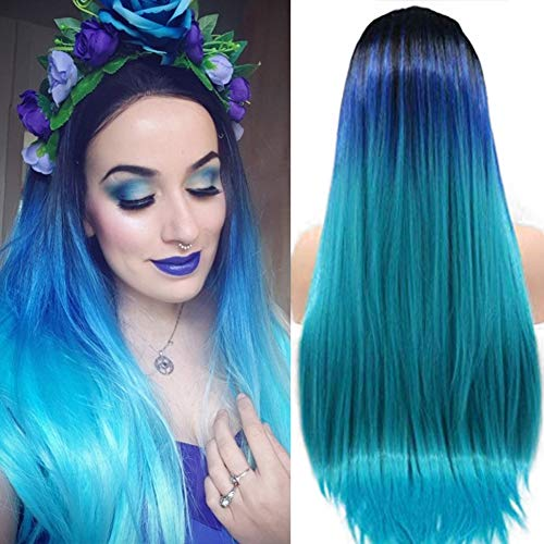 Regenbogen-Perücke, türkis, blau, Ombre-Haar, lang, seidig, glatt, synthetische Lace-Frontperücke mit Babyhaar zweifarbig dunkeles Wurzelblau Ombre-Haar für Damen Cosplay Schwarz bis Blau, Hellgrün