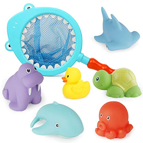 JONZOO Baby Bath Toys, Bathtub Squirt Toys for Toddlers, 6 Floating Water Spray Cartoon Animals 1 Fishing Net