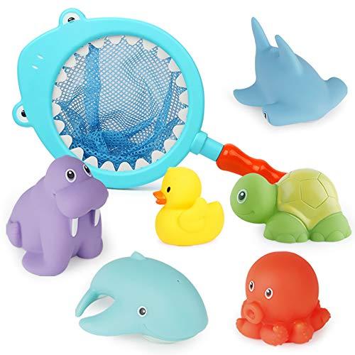 Richgv Badespielzeug für Babys, Wasserdichtes Schwebendes Spielzeug in der Badewanne, Badewannenspielzeug Wasserspielzeug Wasserspaß für Kinder mit 1 Fischernetz & 6 Meerestiere (Hai)