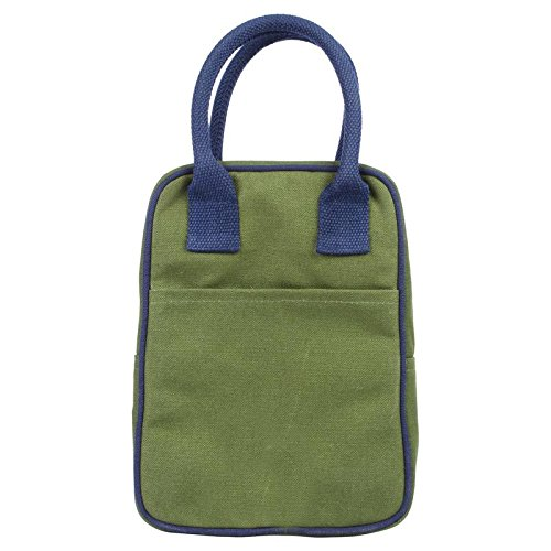 Eono Lunch Tote Bag - Reusable 100% Cotton Canvas - Insulated, Cooler, Washable with Zipper for Men, Women, Adults, Kids (Dark Green) - 0706