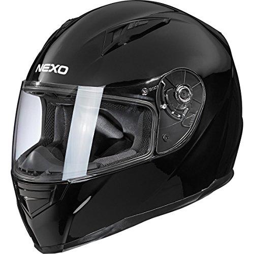 Nexo Integralhelm Motorradhelm Helm Motorrad Mopedhelm Basic II, herausnehmbares Komfortpolster, Be- und Entlüftung, Nasen-, Kinnwindabweiser, klares Visier, Ratschenverschluss, Schwarz, XS