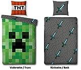 Familando Wende Bettwäsche-Set Minecraft, 135x200cm + 80x80cm, 100% Baumwolle, grün Motiv Craft...