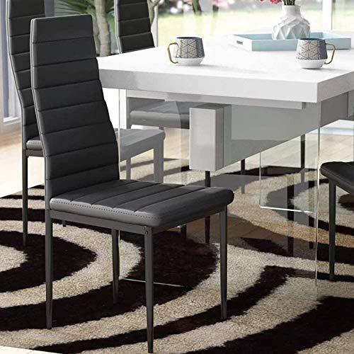 EBS My Furniture - Sedia da pranzo con schienale alto, in ecopelle, con gambe in metallo, per cucina, soggiorno, sala riunioni, ristorante, ufficio, colore: nero (sedia singola)