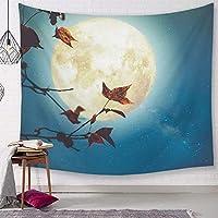 寮の壁の装飾のタペストリー月の夜のタペストリー装飾的な青い毛布の生地の寝室150 * 100