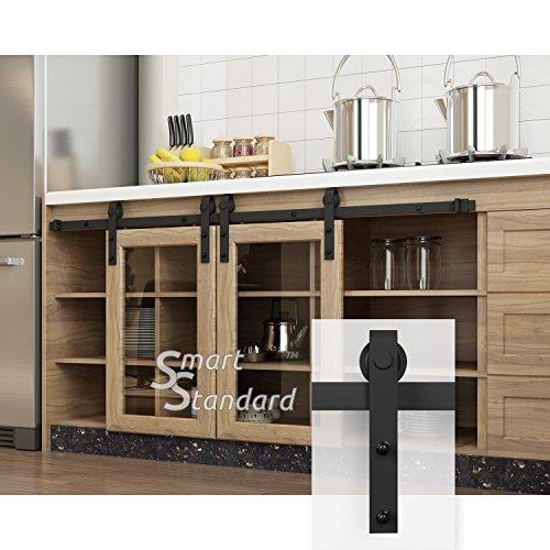 SMARTSTANDARD 3ft Cabinet Barn Door Hardware Track Kit -Super Mini Sliding Door Hardware - Smoothly and Quietly - for Cabinet, TV Stand, Closet - Fit 18' Wide Door Panel - J Shape Hanger (NO Cabinet)