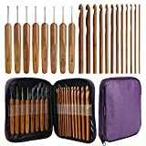 KOKNIT 20 Carbonized Bamboo Crochet Hooks, Lightweight and Eco-Friendly of Full Gift Set with Crochet Hooks Bag, Crochet Hooks for Crocheting