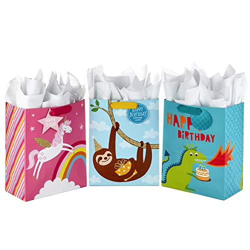 "Hallmark 13"" Large Kids Birthday Gift Bags Assortment with Tissue Paper - Sloth, Dinosaur, Unicorn (Pack of 3 Gift Bags, 9 Sheets of Tissue Paper)"