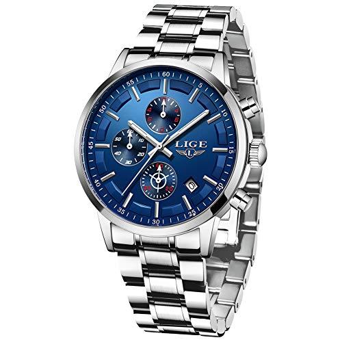 LIGE Herren Uhren Männer Mode Militär Edelstahl Silberblau Wasserdicht Chronograph Armbanduhr Mann Elegant Datum Kalender Freizeit Sport Dress Quarz Uhr