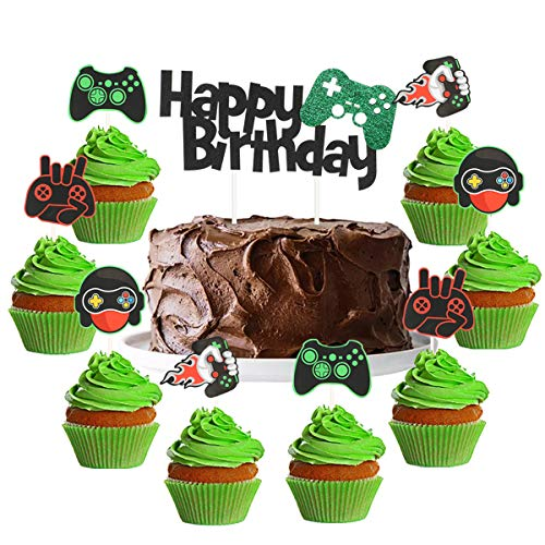 Video Game Cake Topper Gaming Cupcake Toppers Gamer Cake Decorations Set Gaming Birthday Party Supplies for Boys