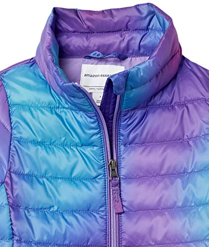Amazon Essentials Light-Weight Water-Resistant Packable Mock Puffer Jackets, Purple Ombre, 11-12 Years