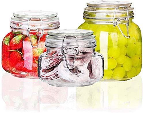 AMOYEE Bouteille en Verre 3 pièces Set Pot en Verre scellé Bubble Passion Fruit Citron Miel Pot de Confiture de Bouteille Bouteille Enzyme Réservoir de Stockage