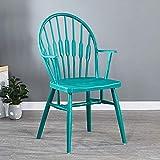 COLU Silla De Comedor Americana De Windsor, Sillón De Un Solo Anchoo Y Ampliado, Adecuado para Comedor Y Dormitorio 0524Y(Color:Azul)