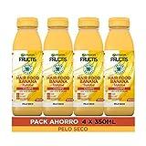 Garnier Fructis Hair Food Champú Banana Nutritiva, indicado para Pelo Seco - Pack de 4 x 350 ml