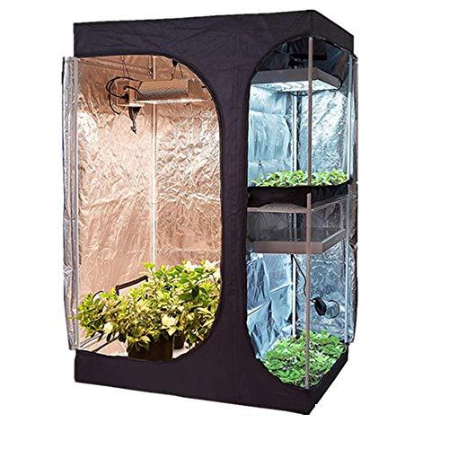 ZHEDAN 2-IN-1 600D Clov Tent Room, Plantas De Hidroponía Interior Cola De Cultivo para El Invernadero, Reflective Mylar Hycar Crecimiento De La Tienda De Campaña