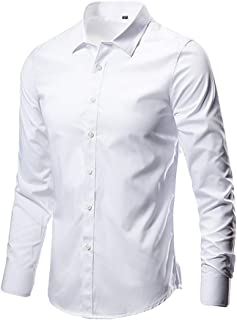SFE Men's Business Leisure Lapel Pure Color Long-Sleeved Shirt Top Blouse Casual Party Holiday Summer Fashion New 2019