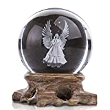 HDCRYSTALGIFTS Figuritas de ángel 3D con bola de cristal grabada con láser, pisapapeles para decoración del hogar (transparente)