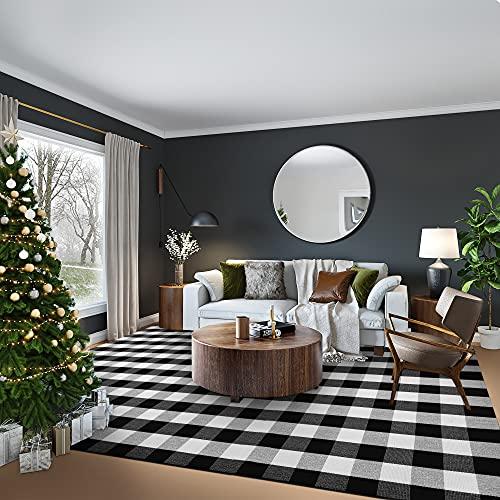 EARTHALL Buffalo Plaid Rugs 8'x10', Black and White Area Rug, Cotton Hand-Woven Checkered Area Rug,...