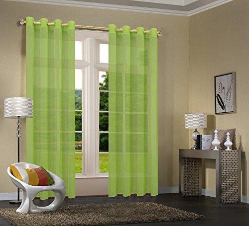 Uni -20332CN- 2er-Pack Apfelgrün Vorhang Transparent Gardinen Set Wohnzimmer Voile Vorhang Ösenvorhang HxB 245x140 cm mit Bleibandabschluß Apfelgrün