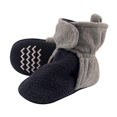 Hudson Baby Unisex Cozy Fleece Booties, Navy Heather Gray, 18-24 Months
