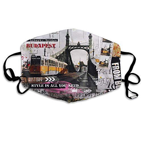 Mask Budapest,Vintage Hungary Eiffel Towel With Liberty Bridge Polyester Anti Dust Face Mask-Washable And Reusable Mask For Cycling Camping Outdoor