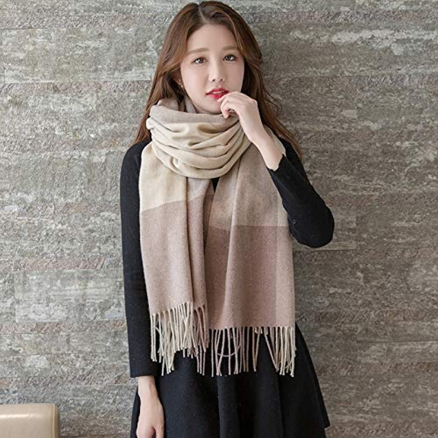 Warm Winter Scarf Hair Scarf Female Spring and Autumn Winter Winter Thick Long Section Warm Lattice Versatile Cashmere Shawl Dualuse Male (Size   A) Neck Scarf