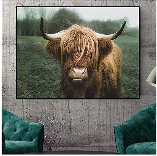 Surfilter Print auf Leinwand Highland Cow Wandkunst Leinwand Malerei Drucke Tier druckbare Bull Poster für Wohnzimmer dekorative 23.6& rdquo; x 35.4& rdquo; (60x90cm) No Frame