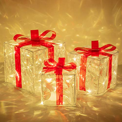 FUNPENY Set of 3 Christmas 60 LED Lighted Gift Boxes, Transparent Warm White Lighted Christmas Box Decrations, Presents Boxs with Red Bows for Christams Tree, Yard, Home, Christams Decorations