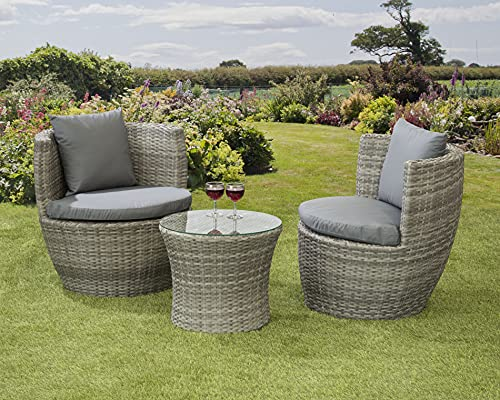 Garden Store Direct Rattan Wicker Bottle Shape Bistro Patio Set, Aluminium, Seat Pads & Back Cushions, 3 Colours To Choose From (Grey)