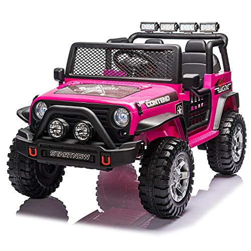 Sopbost 12v 7Ah Ride On Truck, Electric Ride On Car for Kids w/ Parent Remote Control, USB, Bluetooth, Battery Powered Electric Car w/ Spring Suspension, LED Lights, Music (Pink)