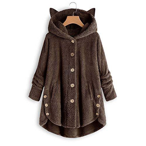 MEIPIQI Sudadera con capucha para mujer, chaqueta larga de piel sintética, sudadera con capucha, botón y...