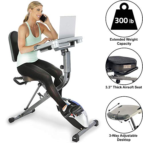 Exerpeutic Exerwork Fully Adjustable Desk Folding Exercise Bike with Optional 24 Programs, Bluetooth Smart Cloud Fitness and Adjustable Backrest/Seat