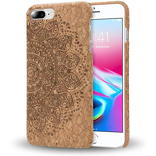 NALIA Cork Case Compatible with iPhone 8 Plus / 7 Plus, Ultra-Thin Wood Look Phone Cover Slim Back Protector Slim-Fit Protective Hardcase Skin Shockproof Bumper, Designs:Cork Mandala