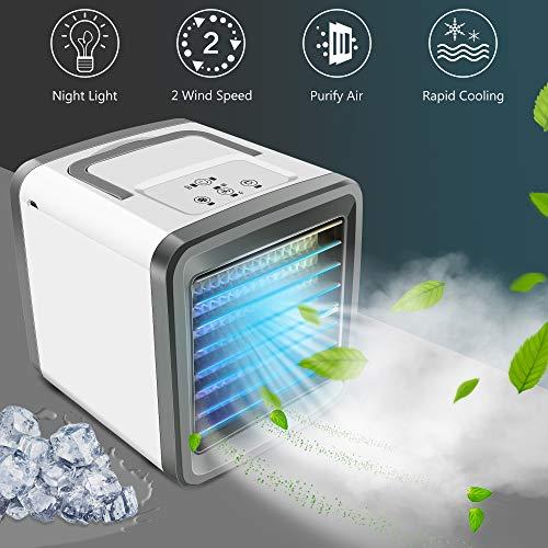 Mini Luftkühler, 3 in 1 USB Tragbare Luftkühler Air Cooler, Mobile Klimaanlage, leiser Tischventilator, Luftbefeuchter Luftreiniger Bunte Lichter für Home Office Auto im Freien