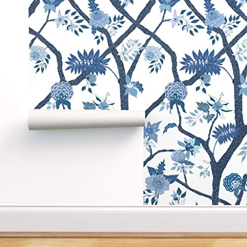 Spoonflower Pre-Pasted Removable Wallpaper, Chinoiserie Blue White Floral Large Scale Peony Peonies Trees Print, Water-Activated Wallpaper, 12in x 24in Test Swatch